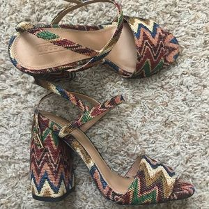 Brown Woven Chevron High Heeled Sandals 7